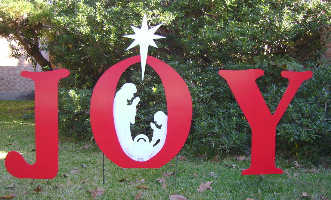 Christmas yard signs made to order holiday yard art made for Large outdoor christmas signs